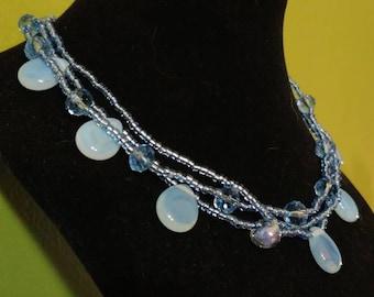 Three strand light blue Necklace