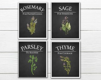 Kitchen Decor - Herb Print Set - Parsley, Sage, Rosemary & Thyme - Dining Room Decor - Watercolor Herbs