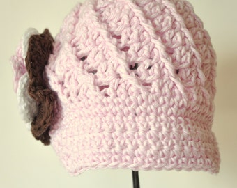 Cotton News Boy Hat, Newsboy Visor Hat,   with Pink, Brown and  White Flower size 1 to 2 years and 3 to 8 years