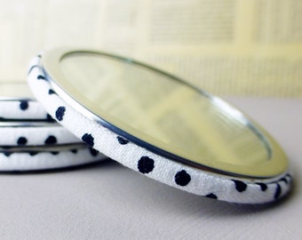 Fabric covered pocket mirror | Black dotty print fabric | Ideal handbag mirror