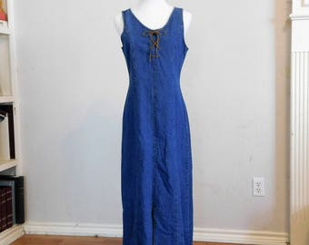 Long BLUE DENIM Maxi Sheath Dress Lace up 100% cotton Country Western Casual Wear Expression 50 - M