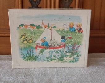 Block puzzle, wooden puzzle, Dutch vintage
