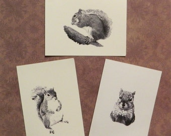 Set of 6 or 12 Handmade Blank Squirrel Print Note Cards