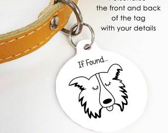 Border collie dog tag circle collie collar tag border collie tag border collie dog tag border collie dog name tag monochrome sciox Choice Image