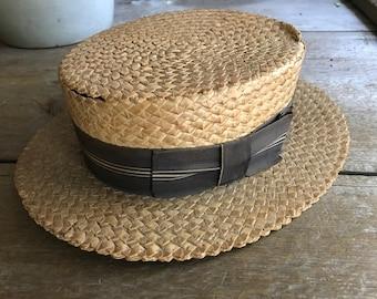 Vintage Straw Boater Hat, Striped Black Ribbon Bow, A H Adam