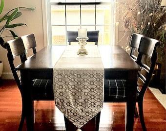 Table runner , silver and white table runner , Long table runner , table decor , classy table setting