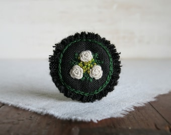 Winter Rose Brooch, Hand Embroidered Brooch, White Rose Brooch, Gift Under 40, Ooak Jewelry, Floral Coat Pin, White Black Brooch