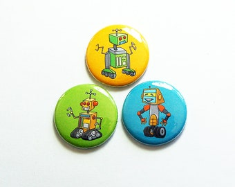 Robot Magnets, Magnet Trio, Stocking stuffer, Magnets with Robots, Set of Magnets, Gift for boy, birthday party favor (8712)