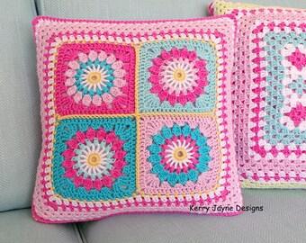 CROCHET PILLOW PATTERN  Reversible pillow pattern Crochet cushion pattern Starry sun pattern Granny square pattern Granny square pattern Pdf