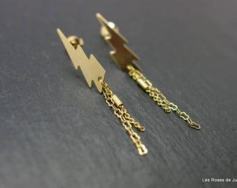 Earrings graphic lightning gold earrings, gold filled