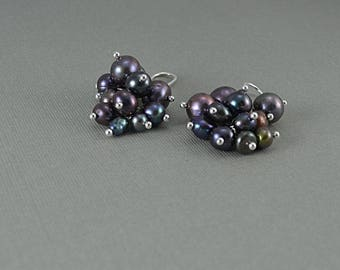 Black peacock freshwater pearl cluster earrings