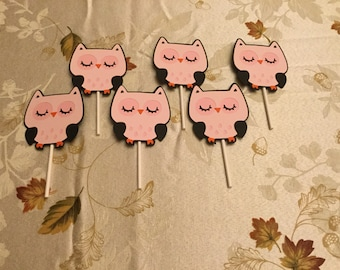 Cute Owl Cupcake Toppers Set of 12