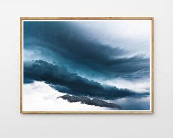 Clouds Wall Art, Navi Abstract Decor, Navi Print, Blue Wall Art, Sky Photography, Storm Sky Photo, Storm Clouds Decor, Storm Wall Art