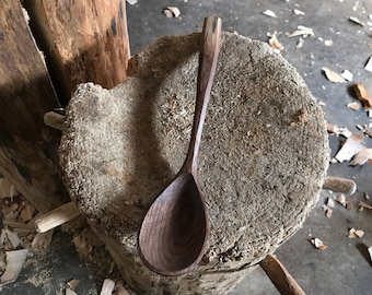 """11"""" cooking spoon, wooden spoon, serving spoon, hand carved wooden spoon"""