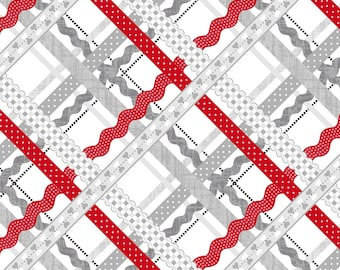 Red and Grey Ric Rac Stripe Cotton fabric