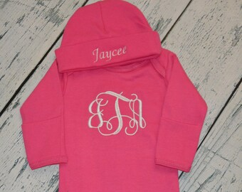 Personalized HOT  PINK  Infant Gown and Cap set Monogrammed