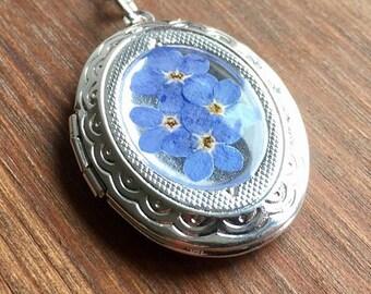 Forget me not locket-antique locket-keepsake-antique silver locket-keepsake jewelry-forget me nots-memorial jewellery