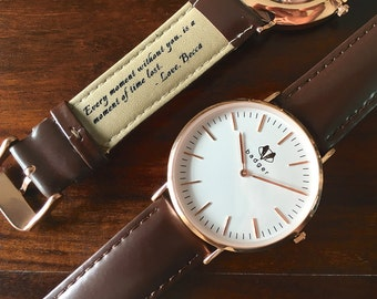 Personalized Men's Watch - Rose Gold - Classic Style