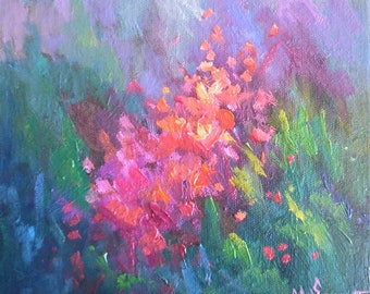 """Flower Painting,  8x8x1.5"""" Original Oil Painting,  No Frame Required, Free Shipping"""
