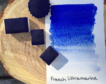 French Ultramarine. Half pan, full pan or bottle cap of handmade watercolor paint