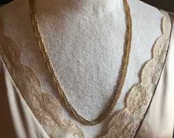 Vintage gold tone costume jewelry chain necklace