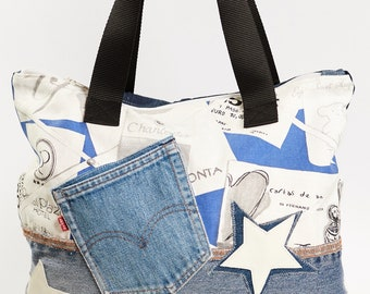 JEANS bag, shoulder bag, gift idea, gifts for her, Mother's Day, birthday, patchwork, Stella leather, friend gift, Vintage