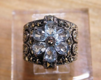 Sterling Silver Topaz Ring with Marcasites Size 5