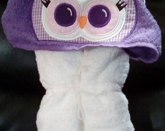 Owl Hooded Towel -  Personalized Towel -Hooded Towel - Childs Hooded Towel