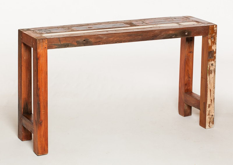 Outdoor Furniture, Reclaimed Teak Console Table Made Form Reclaimed Bali Boats