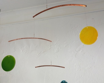 GLASS & COPPER Mobile - Art that Moves - Art Mobile - Mobile Art - Great Movement - Hanging Mobile - Zen movement - peaceful