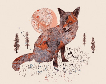 Woodland Forest Series: Fox & Trees — Art Illustration Giclee Print