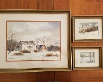 MARGO ADAMS signed original watercolors- set of 3/Margo Adams Original Rural Watercolors