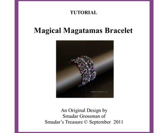 Beading Tutorial, Magical Magatamas Bracelet. Beading Pattern with Long Magatama, Pearls and Crystal Beads. Beadweaving , Beadwork PDF File