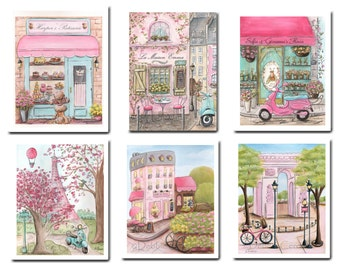 Girls Pink Bedroom Watercolor Prints Personalized Set Of 6 Paris Paintings By Debbie Cerone, Paris Themed Party Decor Girl Baby Shower Gift