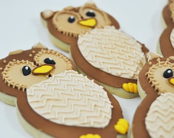 Owl cookies - Owls -  Autumn Cookies - Decorated Iced Sugar Cookies - Fall - Forest friends - woodland wonderland  - baby shower - fall gift