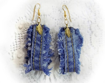 Denim drop earrings  - Denim Earrings, , Blue Denim Earrings ,top selling earrings - jean  drop earrings - recycled product earrings -# J  1