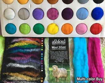 Multi-color 5x 10g NZ Ashford Corriedale Wool Top Silver Roving - Ship from USA