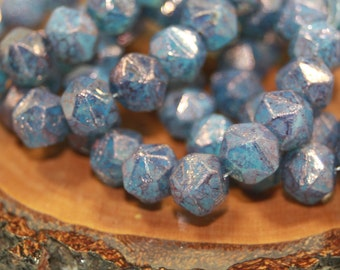 Czech Glass Beads, 10mm English Cut, 15 Beads