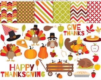 Thanksgiving clipart - thanks giving clip art turkey fall pilgrims pumpkin pie leaves apples corn horn plenty for personal commercial use