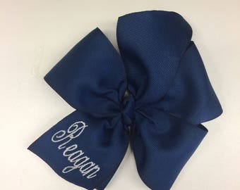 Any Name, Monogram Hair bow, School Uniforms, Personalized Navy, Hairbow, Girls Bows, Large Custom, Boutique Barrette, Solid Ribbons, Basic