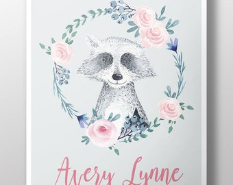Custom Boho Girls Room Decor~Racoon Name Poster~Gift for New Baby~Boho Nursery Decor~Flowers and Raccoon Wall Art~Personalized Art Print