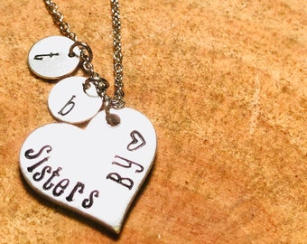 Sisters By Heart Hand Stamped Personalized Necklace