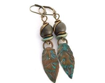 Handmade Patinaed Brass Leaf Earrings, Metal Earrings, Brown Earrings, Boho Earrings, Artisan Earrings, Green Earrings, Antique Brass, AE114