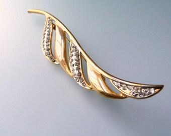 Vintage Rhinstone Gold Toned Brass Leaf Brooch