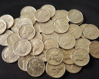 UNCIRCULATED 90% Silver Mercury Dimes // Old U.S. Coins // 1916-1945 // 1 COIN - Free Shipping
