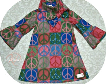 Peace Sign Fleece Dress
