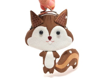 Cute chestnut brown squirrel clutch purse