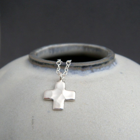 Tiny silver cross necklace small square cross sterling like this item mozeypictures Images
