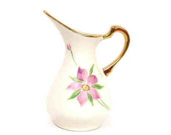 Vintage Pink floral Creamer Demitasse Ivory Pitcher Heavy Gold Trim Hand Painted Miniature Ewer