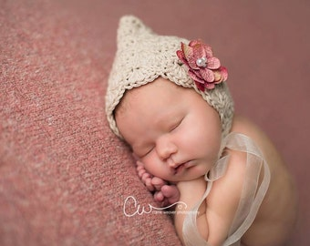 Crochet Pattern for Lacy Pixie Bonnet Hat - 6 sizes, baby to adult - Welcome to sell finished items
